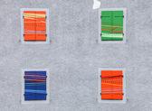 Obturador da janela swiss multicolor — Fotografia Stock