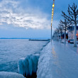 Icy Waterfront, Lake Geneva, Switzerland - Stock Photo