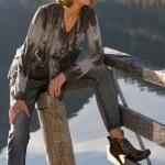 Fashionably-dressed elderly woman — Stock Photo