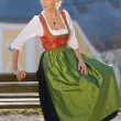Old Bavarian woman in traditional dress — Stock Photo