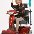 Disabled elderly woman beckons — Stock Photo