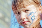 "A girl with dragon ""tatoo"" — Stock Photo"