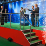 Ambassadors UEFA Mihaylichenko, Figo, Suker — Stock Photo #9693626