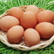 Stock Photo: Brown chicken egg in wicker basket