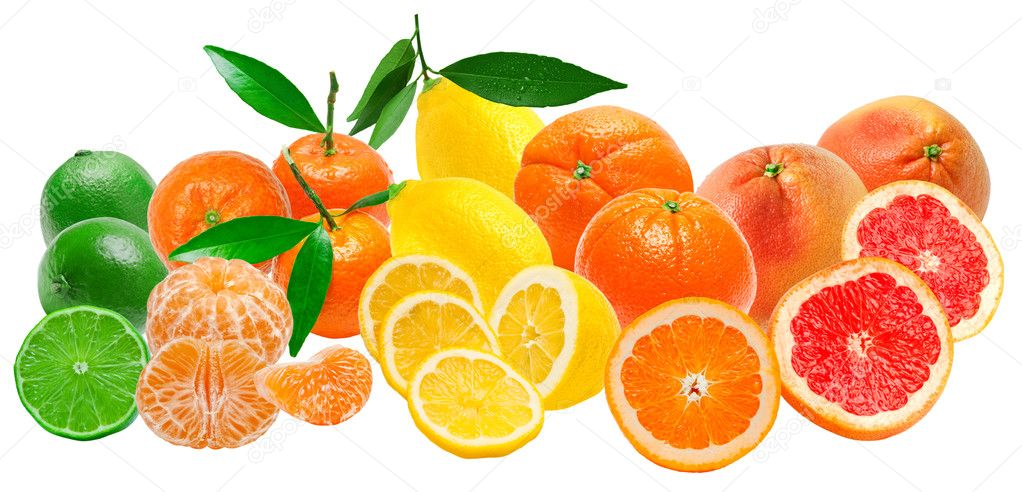 Citrus fruits isolated on white background — Stock Photo #8958277