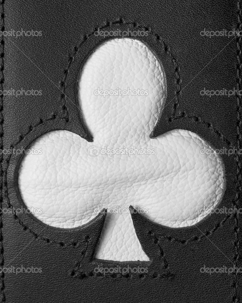 Poker clubs shape stitched in leather black and white — Stock Photo #9822780