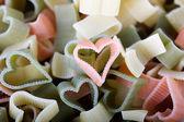Multi-Colored Heart Pasta — Stock Photo