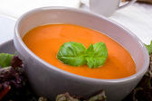 Tomato Soup with Basil Garnish — Stock Photo