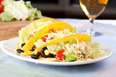 Three Vegetarian Tacos — Stock Photo