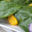 Spinach Mandarin Salad Close Up - Stock Photo