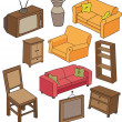 Stock Vector: Hand drawn furniture pattern