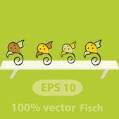 Ptáci sedět na palubě. vektorové ilustrace — Stock vektor