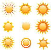 Multiple stylized sun graphics, vector — Stock Vector