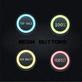 Pictogrammenset van neon knoppen — Stockvector