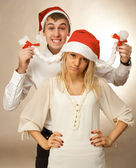 Portrait of a lovely young christmas couple — Stock Photo