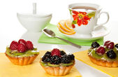 Fresh and sweet dessert cakes with cup of tea — Stok fotoğraf