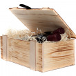 Wooden case with wine — Stock Photo