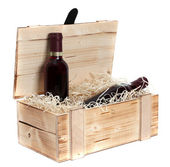 Wooden case with two bottles of red wine — Stock Photo