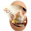 Bank note of 50 euro in eggshell — Stock Photo