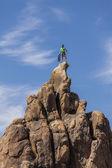 Climber on the summit. — Stock Photo