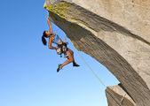 Female climber challenged. — Stock Photo