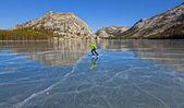 Frozen lake ice skating. — Stock Photo