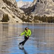 Stock Photo: Frozen lake ice skating.
