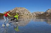 Lago congelado el patinaje sobre hielo. — Foto de Stock
