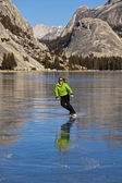 Frozen lake ice skating. — Stock Photo