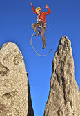 Rock climber on the summit. — Stock Photo