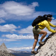 Scrambling towards the summit. - Stock Photo