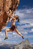 Rock climber dangling. — Stock Photo