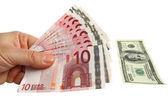 Euro and dollars money — Stock Photo