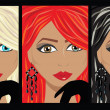 Stock Vector: 3 beautifull portraits of vector women