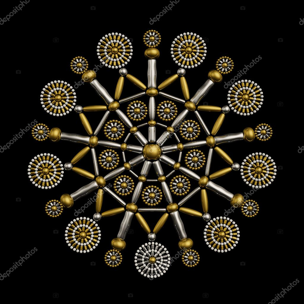Luxury jewelry ornament made from metallic seed beads isolated on black background. Luxury ornament concept — Stock Photo #9789656