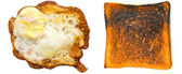 Burnt toast and egg — Foto Stock