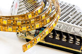 3-chip SMD LED strips with power supply — Stock Photo