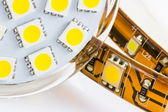 The same 3-chip LEDs on strip and bulb GU10 — Stock Photo
