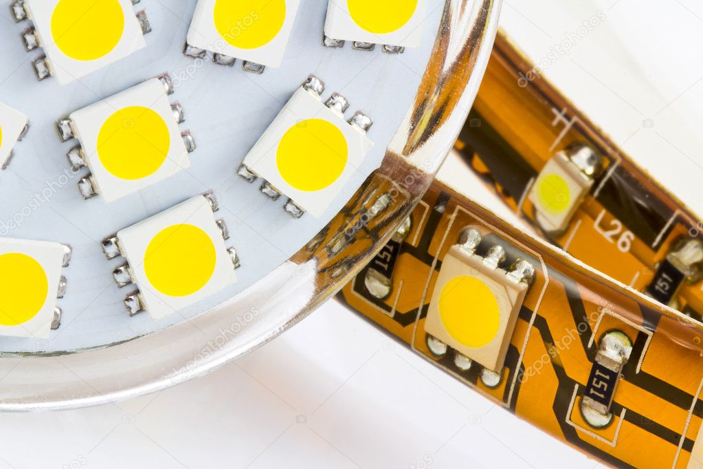 The same 3-chip LEDs on strip and bulb GU10 — Stock Photo #8394310