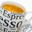 Details cup fresh espresso coffee with crema — Stock Photo