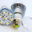 Two LED light bulbs with 1 Watts SMD chips one of them without — Stock Photo #9874678