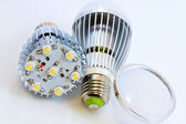 Two LED light bulbs with 1 Watts SMD chips one of them without — Stock Photo