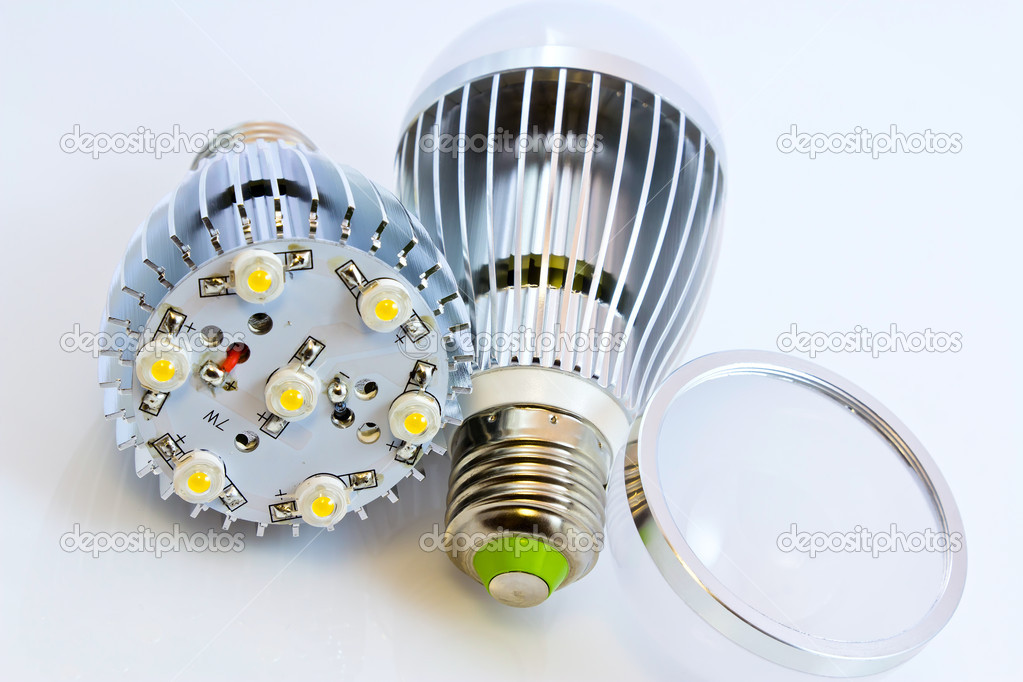 Two LED light bulbs with 1 Watts SMD chips one of them  without cover glass — Stock Photo #9874678