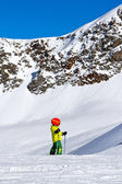 Little skier on a glacier in the Alps — Stock Photo