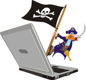 Pirate computer — Stock Vector