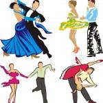 Dancing - ballroom dancers silhouettes — Stock Vector #8021398