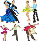 Dancing - ballroom dancers silhouettes — Stock Vector