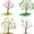 Trees during the seasons of the year — Imagens vectoriais em stock