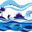 Stock Vector: Fishing on high seas