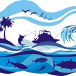 Fishing on the high seas — Stock Vector
